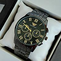 Чоловічі наручні годинники Emporio Armani (армані) чорного кольору з римськими цифрами, на браслеті - код 1910, фото 1