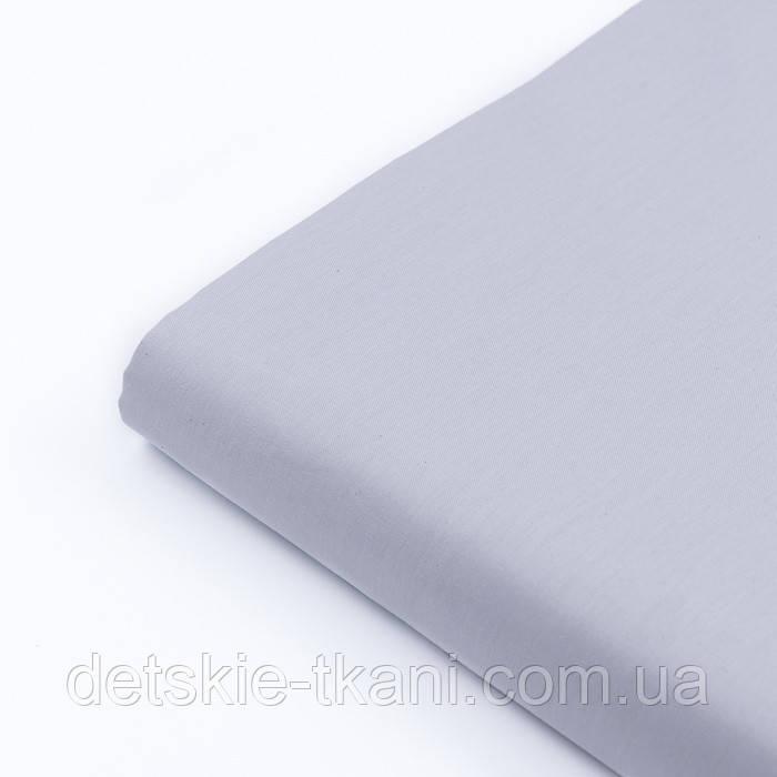 Лоскут сатина однотонного светло-серого цвета № 2172с, размер 18*160 см