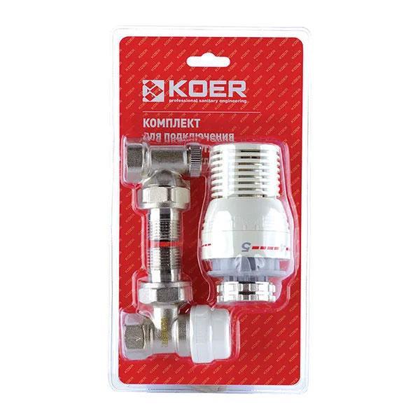 Комплект для підключення радіатора (кутовий) з термоголовкою 1/2' KOER (KR.1320)