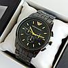 Мужские наручные часы Emporio Armani (армани) черного цвета с метками, на браслете - код 1912
