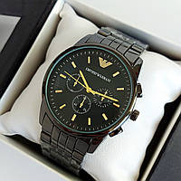 Мужские наручные часы Emporio Armani (армани) черного цвета с метками, на браслете - код 1912, фото 1