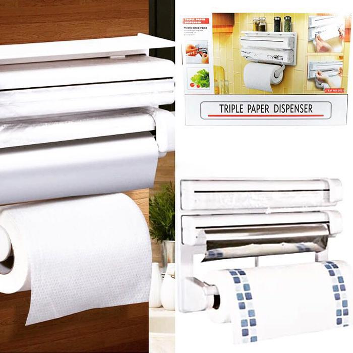 ✨ Диспенсер бумажных полотенец пищевой пленки и фольги 3 в 1 универсальный ✨