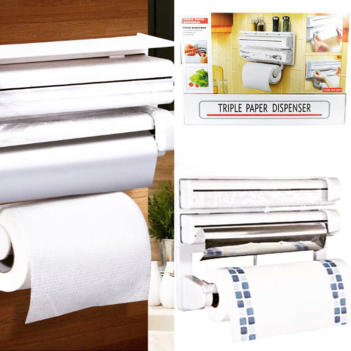 ✨ Диспенсер паперових рушників харчової плівки і фольги 3 в 1 універсальний ✨