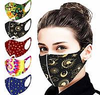 Защитная маска 5 шт. комплект РМ2.5 многоразовая полумаска питта Pitta тканевая с ярким принтом
