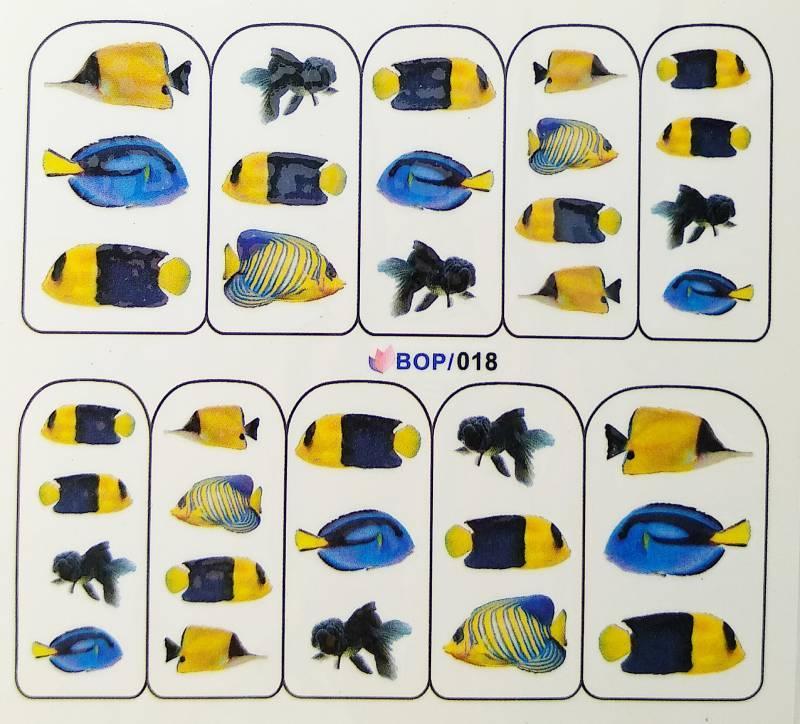 Слайдер дизайн для ногтей Синие морские рыбки