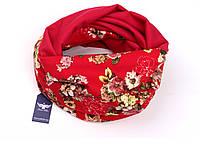 Двусторонний шарф-капюшон красного цвета, фото 1