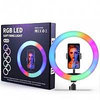 Кольцевая светодиодная селфи лампа с держателем для телефона RING LIGHT 12 - RGB 33 см для блогера визажиста