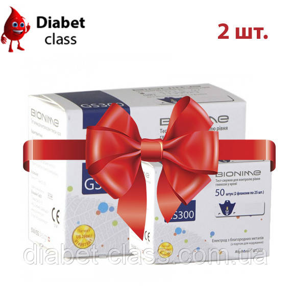 Тест-полоски Бионайм Райтест (Bionime Rightest) GS 300 - 50 штук 2 упаковки