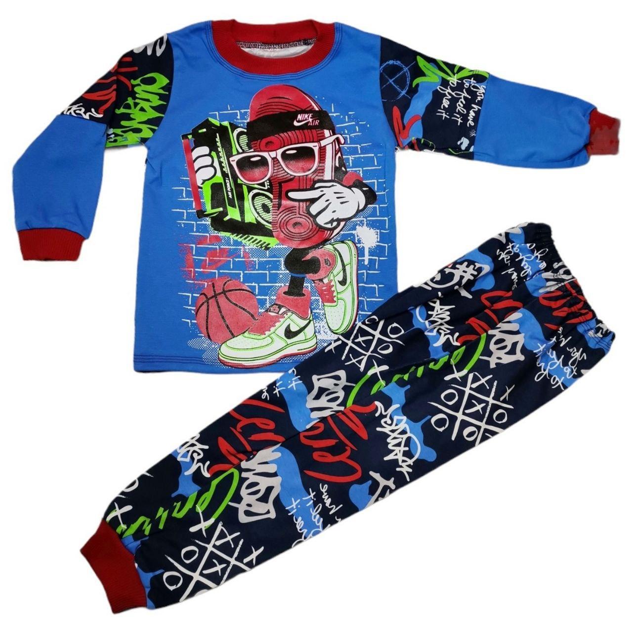 Стильная детская пижама с принтом для мальчика интерлок-пенье