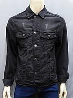 Стильная джинсовая куртка в графитовом цвете с отложным воротником