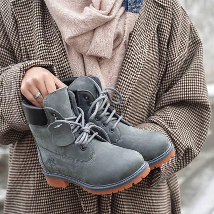 Жіночі черевики Timberland Grey з хутром, фото 2