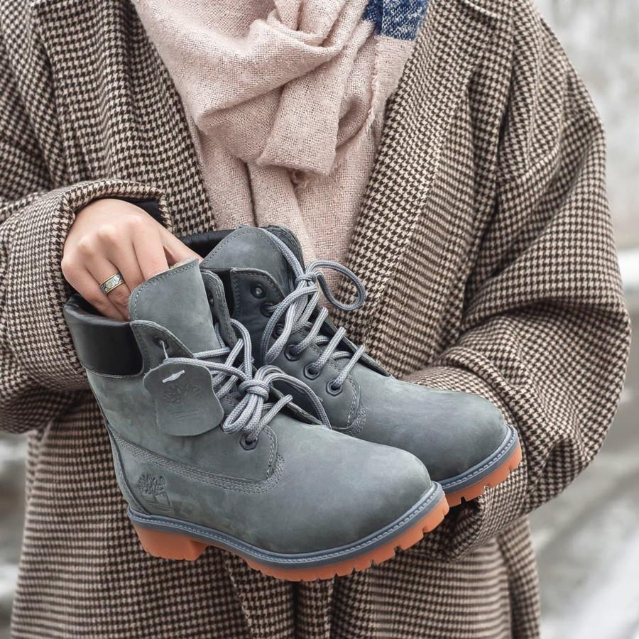 Жіночі черевики Timberland Grey з хутром