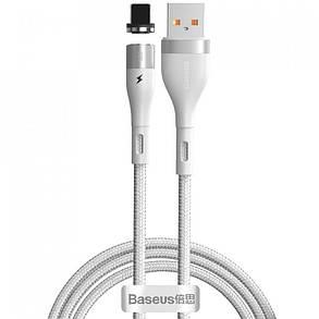Кабель USB Baseus Zinc Fabric Magnetic Lightning CALXC-K02 White 1m, фото 2