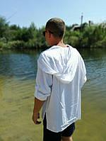 Натуральная рубаха для купания и пляжа с капюшоном. ХС-12ХЛ