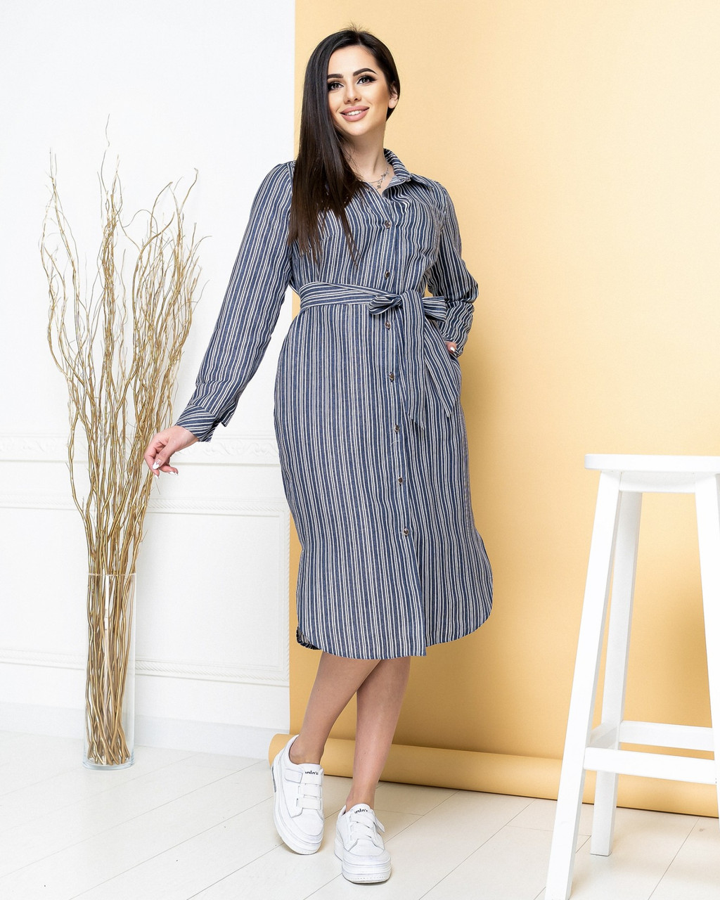 Платье-рубашка из натурального льна длинное джинс в полоску/джинсового цвета в полоскуарт.М350