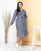 Платье-рубашка из натурального льна длинное джинс в полоску/джинсового цвета в полоскуарт.М350, фото 1