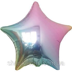 Шар Звезда фольгированная с гелием на День Рождения, юбилей Радужный