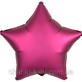 Шар Звезда фольгированная с гелием на День Рождения, юбилей Бургундия
