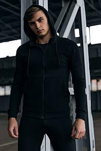 Кофта Мужская Cosmo черная спортивная толстовка с капюшоном плюс Подарок SKL59-261299