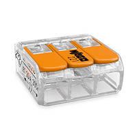 Клема 3-конт д/розпод коробок, підключ.люстр, світильн, 0,2-4мм2, прозора WAGO