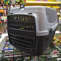 Переноска контейнер для котов и собак серо-черная 55*35*35 см + Ковшик для корма в подарок