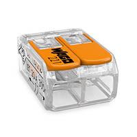 Клема 2-конт д/розпод коробок, підключ.люстр, світильн, 0,2-4мм2,  прозора WAGO