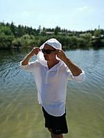 Тонка чоловіча натуральна сорочка для купання і пляжу з капюшоном. ХС-12ХЛ