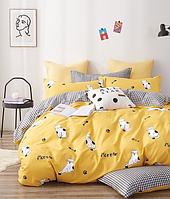 Постельное белье двуспальное хлопок 100 % Двуспальный комплект постельного белья гипоаллергенный Желтый Кот