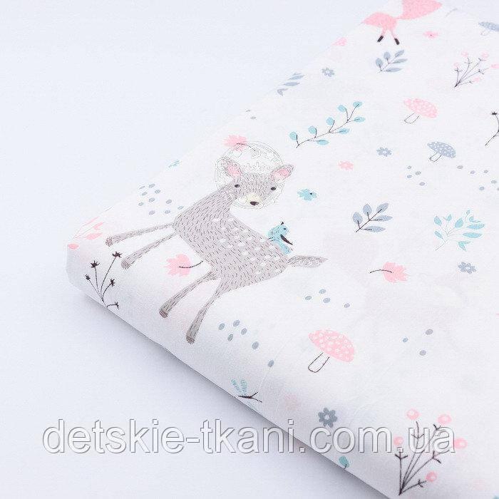 """Лоскут сатина """"Сидящий мишка, косуля и розовая лисичка"""" на белом № 2320с, размер 47*80 см"""