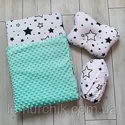 Комплект для коляски (подушка, плед, простынь), цвет на выбор