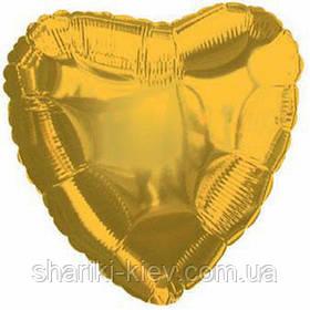 Шар с гелием Сердце фольгированное на День Рождения Золотой
