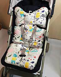 Матрасик в детскую коляску, автокресло и для стульчика, наполнитель холлофайбер, цвет на выбор