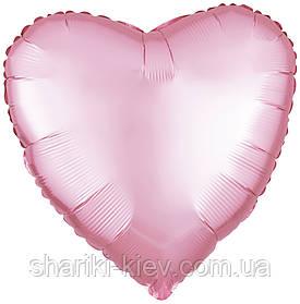 Шар с гелием Сердце фольгированное на День Рождения Светло розовый сатин