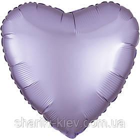 Шар с гелием Сердце фольгированное на День Рождения Лиловый сатин