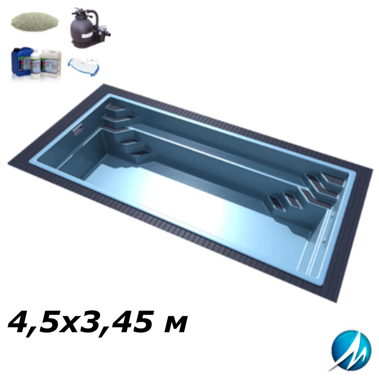 Комплект обладнання для скловолоконного басейну 4,5х3,45 м