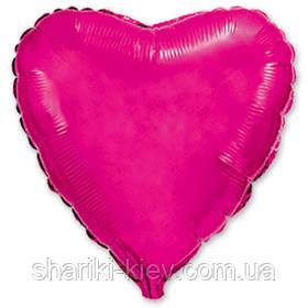 Шар с гелием Сердце фольгированное на День Рождения Малиновый