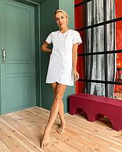 """Медицинский халат (платье) """"Милка """". Белый. Рукав короткий. Satal"""