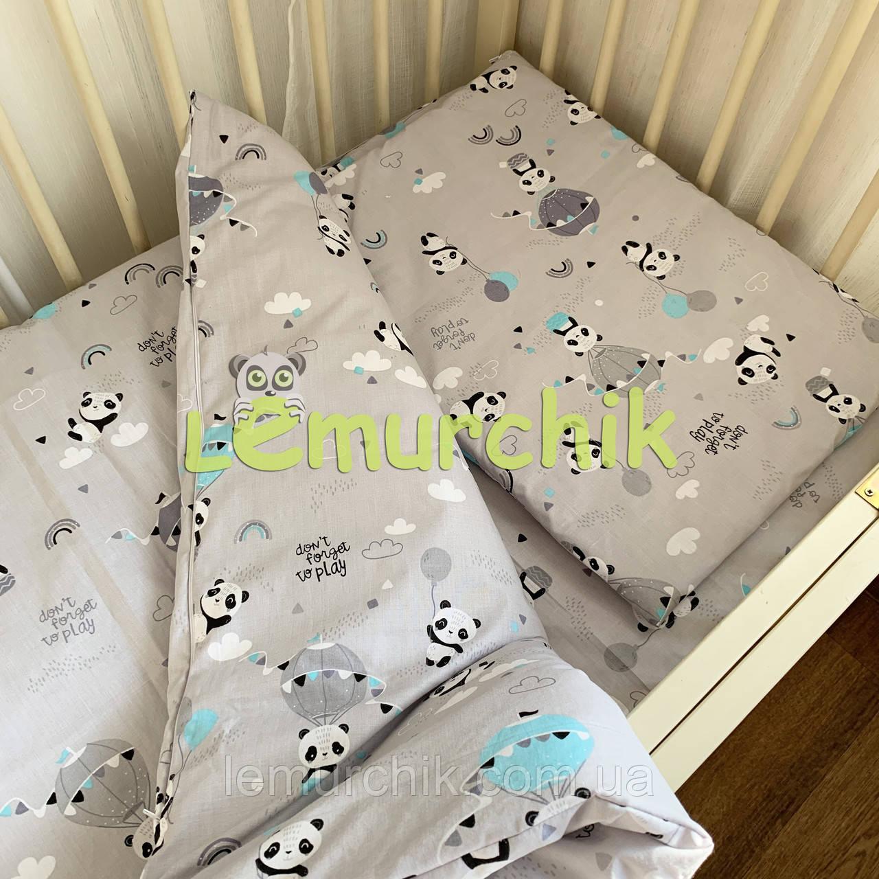 Постільний набір в дитячу ліжечко (3 предмета) Панда сірий