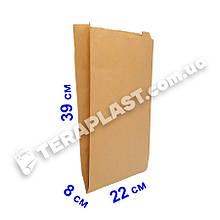 Бумажные пакеты саше для еды бурые 220х80х390