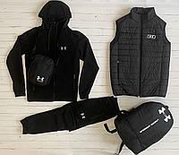 Комплект Жилетка + Кофта + Штаны Under Armour мужской черный | Спортивный костюм Андер Армор ЛЮКС качества