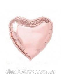Шар с гелием Сердце фольгированное на День Рождения Розовое золото