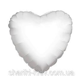 Шар с гелием Сердце фольгированное на День Рождения Белый