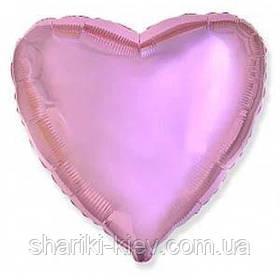 Шар с гелием Сердце фольгированное на День Рождения Розовый металлик