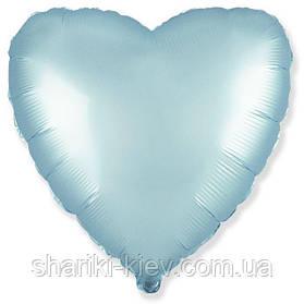 Шар с гелием Сердце фольгированное на День Рождения Голубой сатин