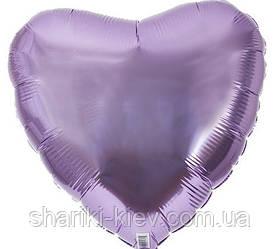 Шар с гелием Сердце фольгированное на День Рождения Лиловый металлик