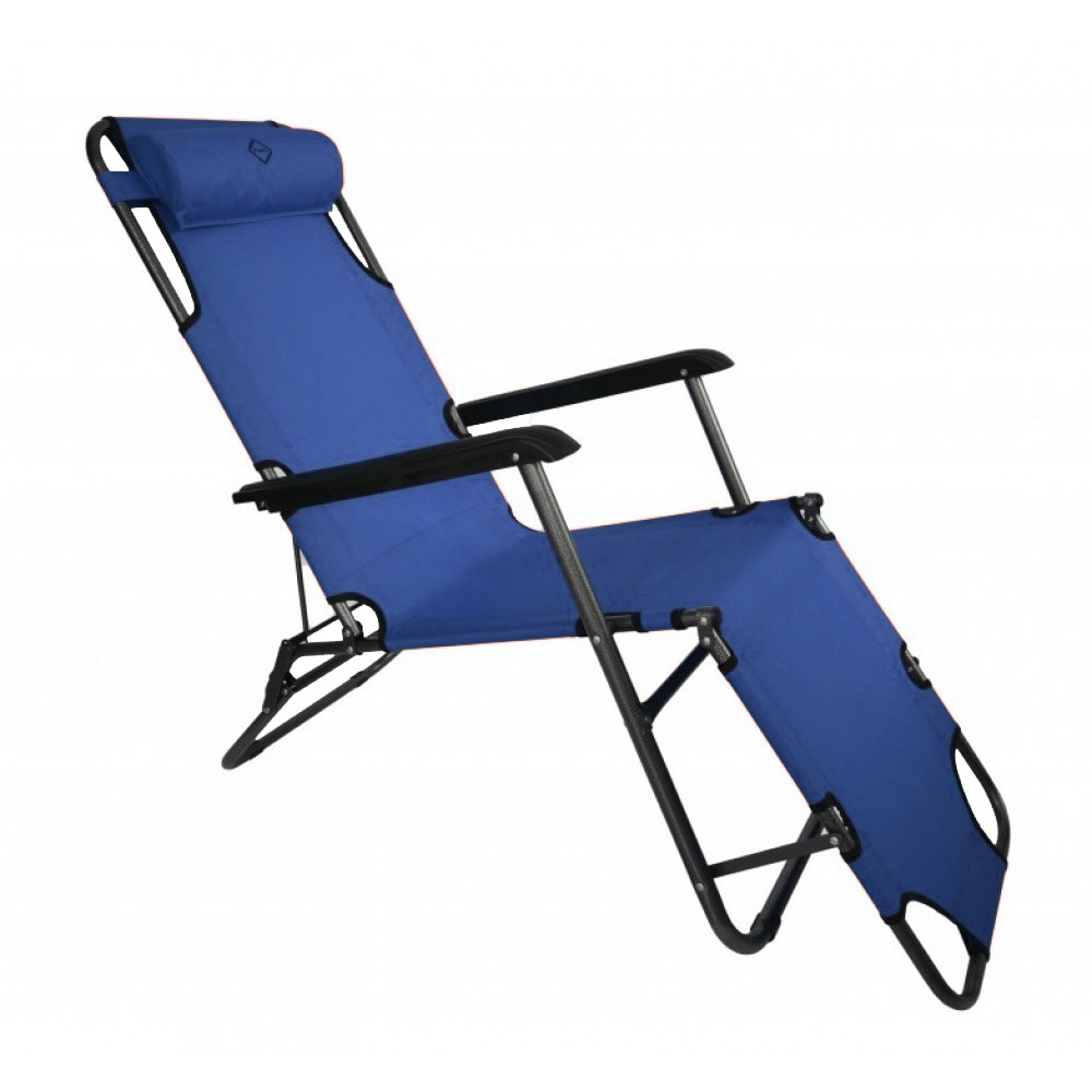 Шезлонг лежак сталевий міцний садове крісло на 178 см з підголовником навантаженням до 100 кг Темно-синій