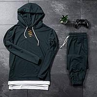 Мужской спортивный костюм Asos oversize 2021, турецкая двунитка, худи с капюшоном и штаны, цвет темно-зеленый
