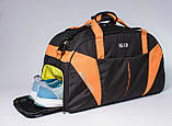 Спортивная сумка с карманом для обуви 42L Cross Porter черный с оранжевым от MAD, фото 7