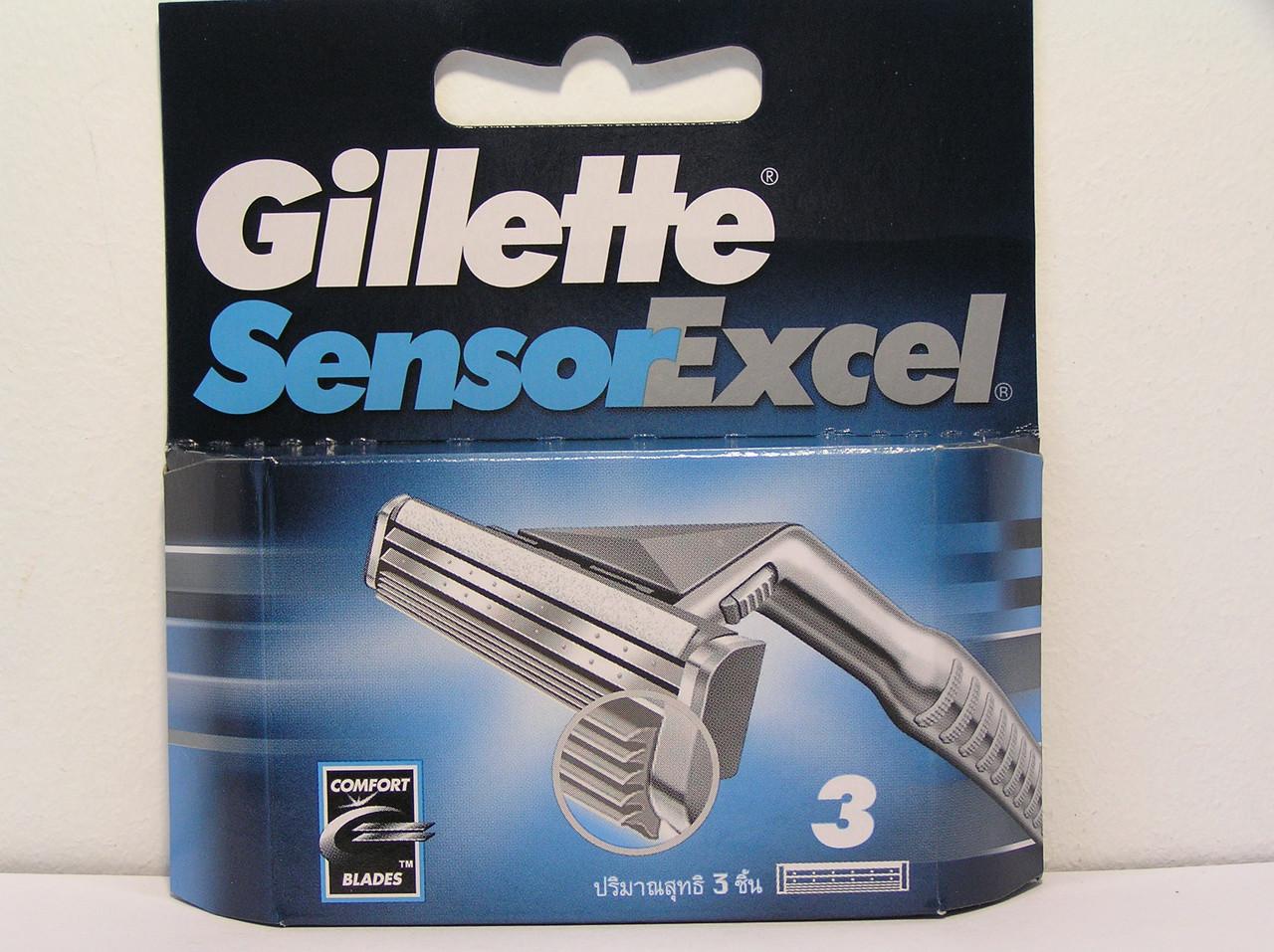 Кассеты мужские для бритья Gillette Sensor Excel ( Жиллет Сенсор эксель Оригинал) 3 шт.