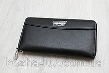 Кошелек на молнии кожаный чёрный B-9026, натуральная кожа, фото 2